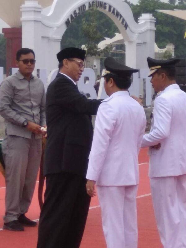 Syafrudin dan Subadri Usuludin dikukuhkan sebagai Wali kota dan Wakil Wali kota Serang untuk periode 2018-2023, Rabu (5/12/2018).