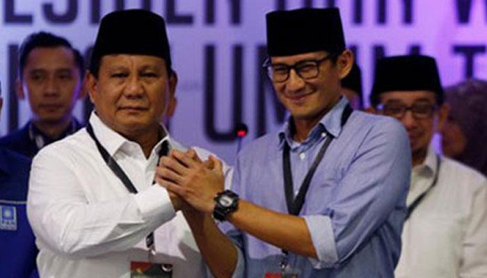 Pasangan Capres dan Cawapres Prabowo Subianto dan Sandiaga Uno